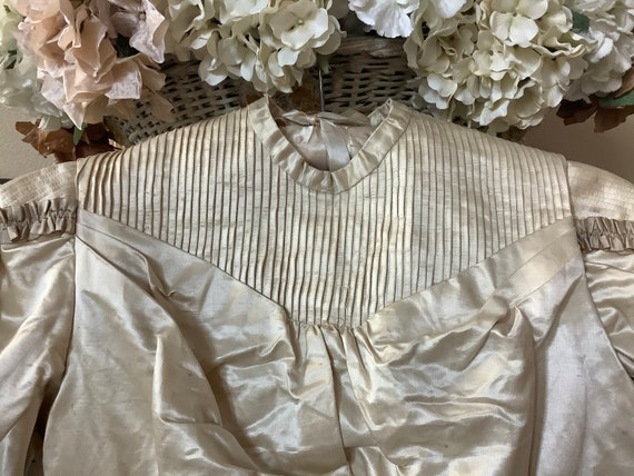 Beautiful ecru colored silk tucked wedding bodice