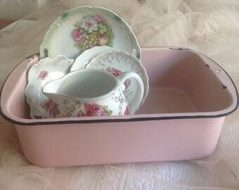 "Charming large 16"" vintage chippy pink porcelain enamelware container"