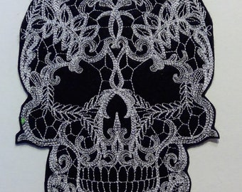 Iron-On Upcycle Fun Halloween Skull Embroidered Patch Large Patch Day of the Dead Skull
