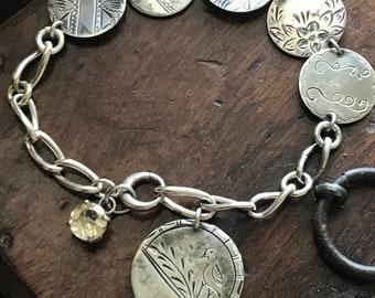 Antique Love Token Watch Fob as a Bracelet w/ Citrine Gemstone  @CELESTEANDCOGEMS