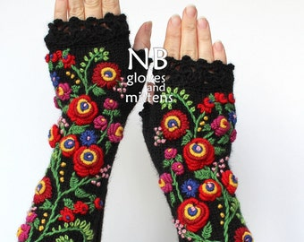 Knitted Fingerless Gloves, Black, Red, 31 cm Long, Clothing And Accessories,Gloves & Mittens