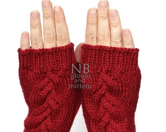 Hand Knitted Fingerless Gloves,  Red, Clothing And Accessories, Gloves & Mittens