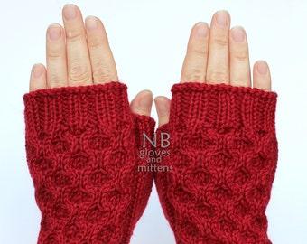 Hand Knitted Fingerless Gloves, Red, Gloves & Mittens, Christmas. Gift