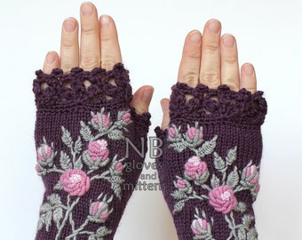 Knitted Fingerless Gloves, Violet, Roses, Clothing And Accessories, Gloves & Mittens, Gift Ideas, For Her