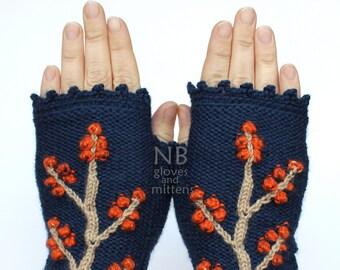 Knitted Fingerless Gloves, Dark Blue, Orange, Beige, Trees, Clothing And Accessories, Accessories, Gloves & Mittens,Gift Ideas