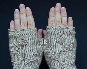 Hand Knitted Fingerless Gloves,  Multicolor Beige, Clothing And Accessories, Gloves & Mittens