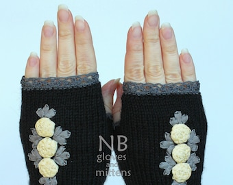 M/S size, Hand Knitted Fingerless Gloves, Gift Ideas,Winter Accessories, Gloves & Mittens, Ribbon Embroidery,Rose,Black, READY to SHIP