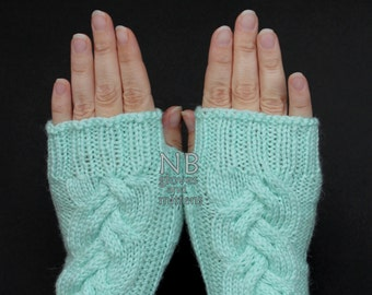 Hand Knitted Fingerless Gloves,  Mint, Clothing And Accessories, Gloves & Mittens, READY TO SHIP