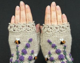 Knitted Fingerless Gloves, Lavender, Bees, Beige Mittens, Clothing and Accessories, Gloves & Mittens,Gift Ideas, For Her