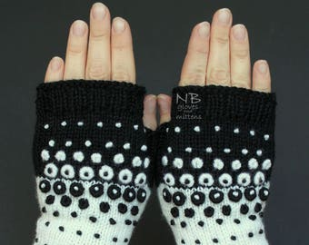 Hand Knitted Fingerless Gloves, Black, White, Dots, Ornament, Embroidered Pattern, Clothing And Accessories, Gloves & Mittens, READY TO SHIP