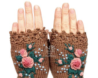 Knitted Fingerless Gloves, Cappuccino Brown, Roses, Rose, Pastel Pink,  Clothing And Accessories, Gloves & Mittens, Gift Idea