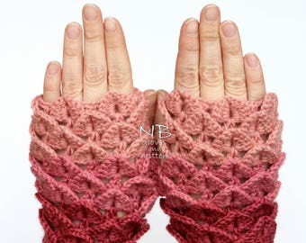 Hand Crocheted Fingerless Gloves, Rose, Pink, Clothing And Accessories, Gloves & Mittens, Gift Ideas, Accessories, READY TO SHIP