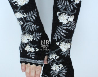 Hand Knitted Fingerless Gloves, Rowanberry, Length 41 cm (16,4 inches),  Black, White, Ivory, Grey