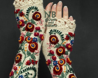 Knitted Fingerless Gloves,Ivory, Red, 31 cm Long, Clothing And Accessories,Gloves & Mittens