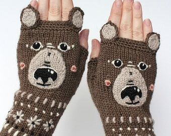 Knitted Fingerless Gloves, Teddy Bear, Clothing And Accessories, Gloves & Mittens, Gift Ideas, For Her,Brown,Accessories