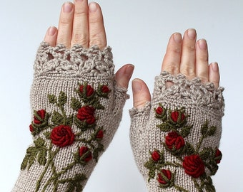 Knitted Fingerless Gloves, Roses, Beige, Clothing And Accessories, Gloves & Mittens, Gift Ideas, For Her