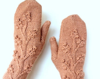 Knitted Mittens, Accessories, Gloves & Mittens, Pastel Pink, READY TO SHIP