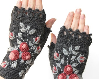 Knitted Fingerless Gloves, Roses, Grey, Clothing And Accessories, Gloves & Mittens, Gift Ideas, For Her,