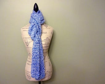 Hand Knit Women's Extra Long Bright Blue Scarf, Soft Fluffy Chunky Knit, Warm Scarf, Hand Made Gift