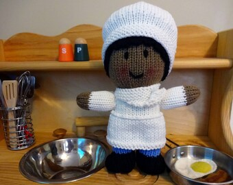 African American Baker or Chef Doll, Handmade Knit Doll, Soft Doll, Children's Toy, Kids Chef, Chef Gift, Baker Gift, Dolls for Boys