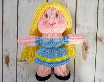 Blonde Dolly in Blue and Yellow Dress, Handmade Knit Doll, Soft Doll, Children's Toy, Baby Shower Gift, Blonde Hair, Brown Eyes