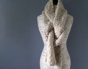 Chunky Knit Extra Long Tan and Cream Scarf, Hand Knit, Gift for Women, Fluffy Scarf, Unique Gift, Gift for Teacher, Gift for Her