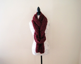 Women's Extra Long Cranberry Red Scarf, Claret Red, Dark Red, Hand Knit, Soft Fluffy Chunky Knit, Warm Scarf, Winter Scarf, Hand Made Gift