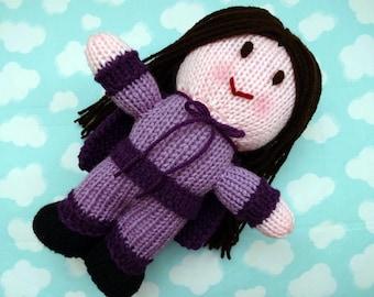 Supergirl, Superkid, Superhero Hand Knit Children's Toy, Girl Superhero Doll, Stuffed Doll for Boys or Girls