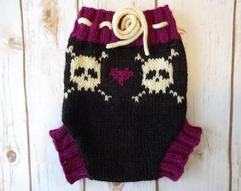MEDIUM Wool Cloth Diaper Cover, Skull and Cross Bones, Handmade Knit Cloth Diaper Cover, Baby Girl, Cloth Diapering, Wool Soaker