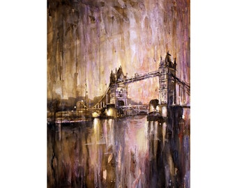 Tower Bridge on River Thames at sunset in the city of London- UK.  Art London watercolor painting wall print.  Tower Bridge art.  Art print