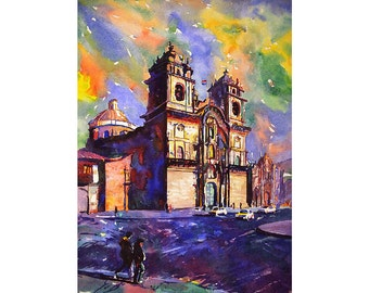 Church on Plaza de Armas in city of Cusco, Peru watercolor landscape, Cusco watercolor painting, Cusco Art print giclee, home decor church