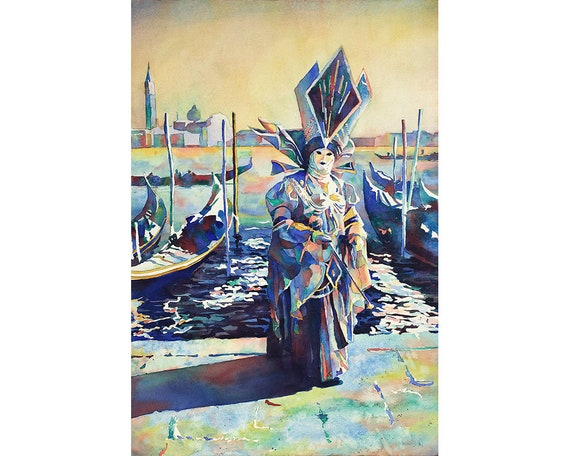 beau profiter du prix de liquidation mode de luxe Venise Italie masqué personne pendant le carnaval, Venise peinture Italie  oeuvre décoration Carnaval wall art aquarelle gondole bateaux Venise art
