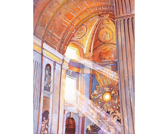 INSIDE ST PETERS VATICAN CATHEDRAL ROME ITALY PAINTING ART REAL CANVAS PRINT