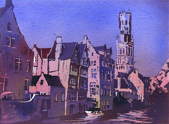 Belfry Tower Europe Fine Art Belgium Photography Colour Print In A Variety of Sizes European Town Bruges Building Architecture