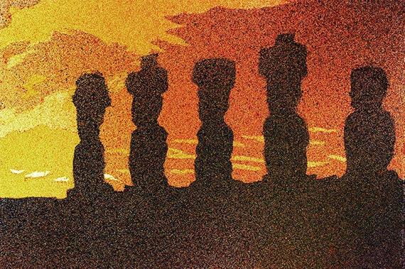 Easter Island Moai artwork watercolor landscape Moai watercolor original Chile Moai statues at Aho Tangoriki at sunset on Easter Island