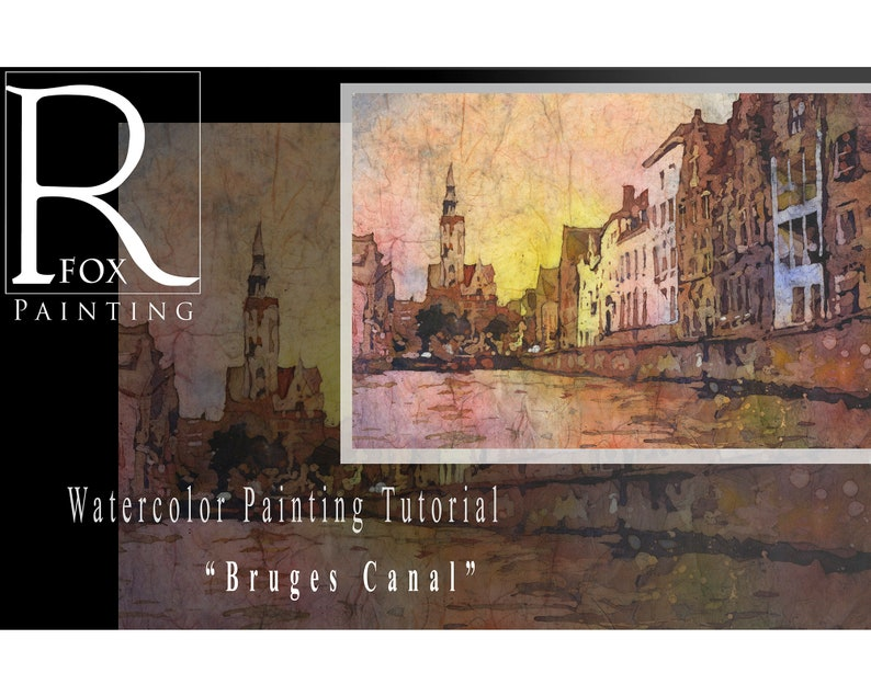 Learn to paint watercolor batik tutorial. Bruges canal image 0