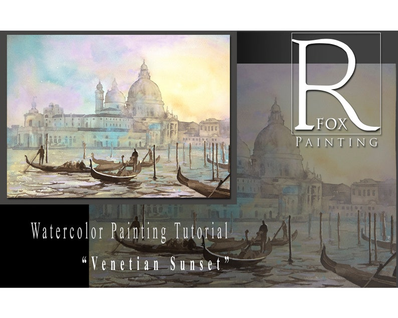 Learn to paint Venice Italy sunset watercolor lesson PDF. image 0