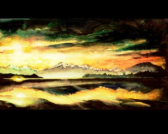 New Zealand watercolor painting of lake & mountains at sunset- New Zealand watercolor print, art New Zealand, landscape painting, home decor