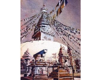 Swayambhunath Buddhist stupa in Kathmandu Valley- Nepal.  Watercolor painting Buddhist stupa Nepal wall art giclee fine art painting Stupa