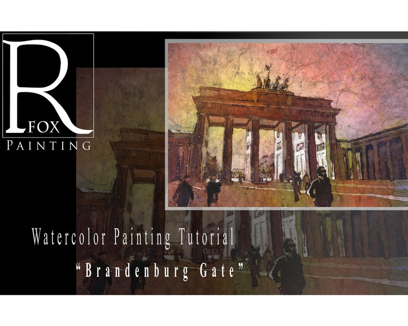 Watercolor batik tutorial lesson.  Brandenburg Gate watercolor image 0