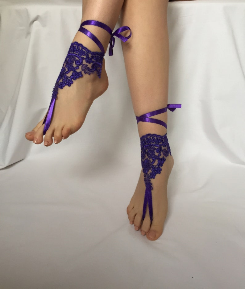 e24c78713aab Purple Barefoot Sandals Bridal Barefoot Sandal Bridal