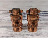 Kachina Doll Salt and Pepper Shaker Set, Copper Colored Salt and Pepper Shakers, Made in Japan