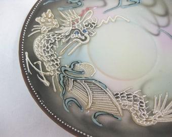 Japanese Porcelain Saucers, Nippon Dragonware  Saucers, Moriage Saucers, set of 4