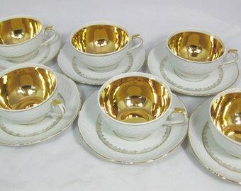 German Porcelain Tea Set, Bavarian China Cups and Saucers, German China Tea Set, US Zone Bavaria,set of 6, Free Shipping!