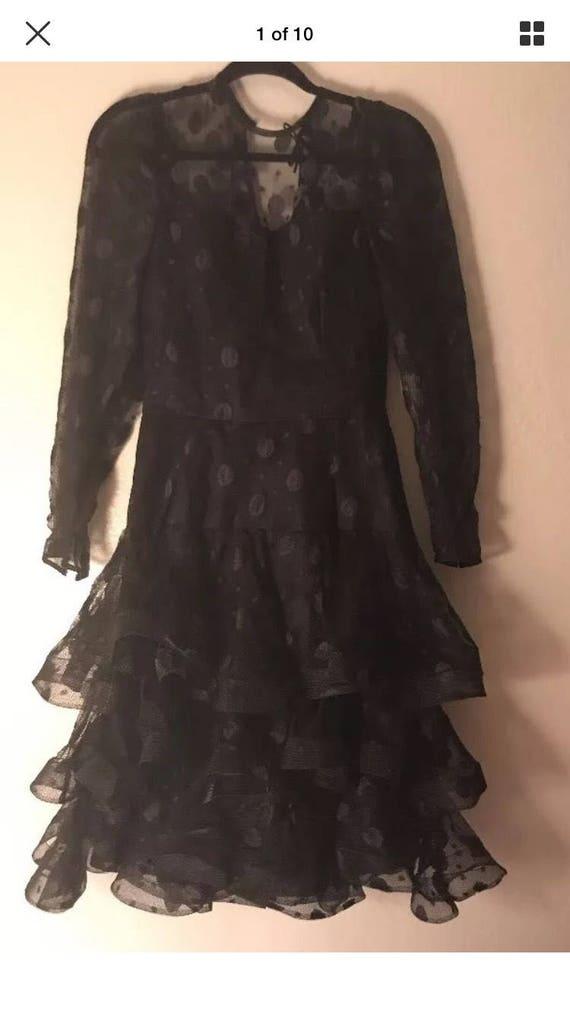 1980's Scaasi Boutique Black Vintage Dress size 8