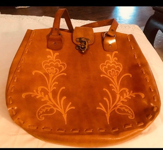 Hand Tooled Leather Satchel Bag