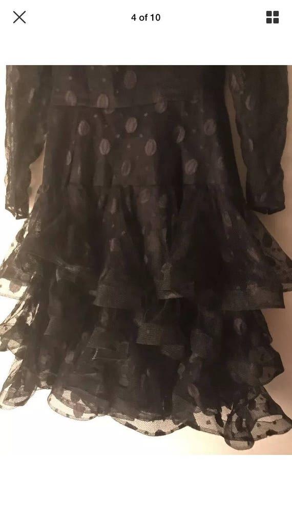 1980's Scaasi Boutique Black Vintage Dress size 8 - image 3