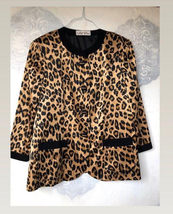 Lilli Ann Animal Print Jacket Size L