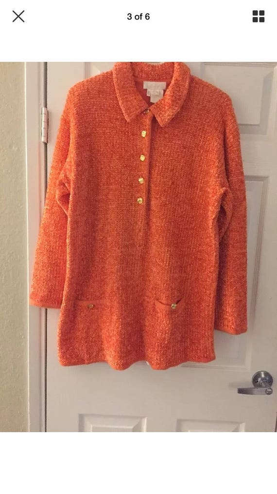 Escada Margaretha Ley Orange Mohair Wool Blend Swe