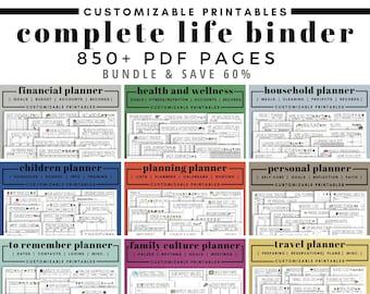 Complete Life Binder   Planner Printables   Editable PDF   Home Management   Finances   Cleaning   Household   Budget   Calendars   Fitness